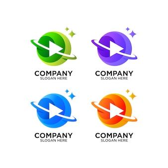 Botão play colorido e design do logotipo do planeta