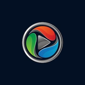 Botão play com logotipo de forma circular