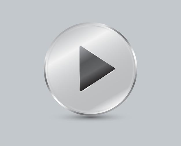 Botão play no fundo cinza forma circular das placas de vidro