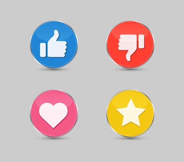 Botão polegar para cima e polegar para baixo ícone de gostar e não gostar estrela e botão de coração