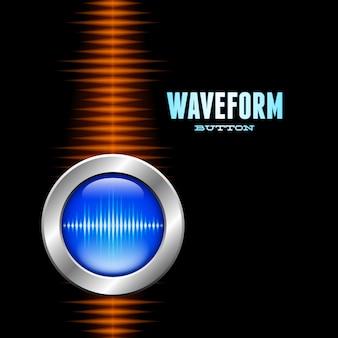 Botão prateado com forma de onda de som e onda laranja