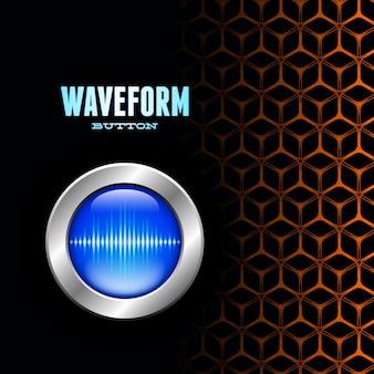 Botão prateado com sinal de onda sonora em grade incomum