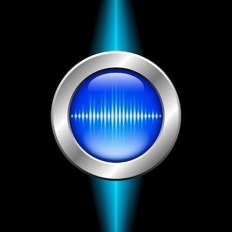 Botão prateado com sinal de onda sonora