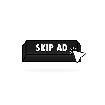 Botão pular anúncio. pule o ícone do anúncio com o cursor de clique. clique. ponteiro do ícone de mão. vetor em fundo branco isolado. eps 10