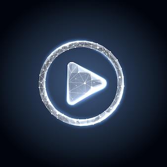 Botão reproduzir no estilo de estrutura de arame poligonal