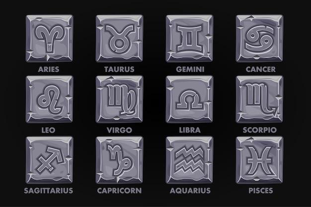 Botão signs on stone da astrologia, definir zodiac