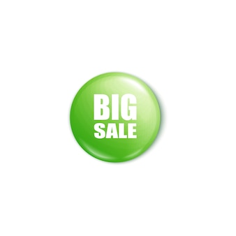 Botão verde brilhante de grande venda d ilustração realista