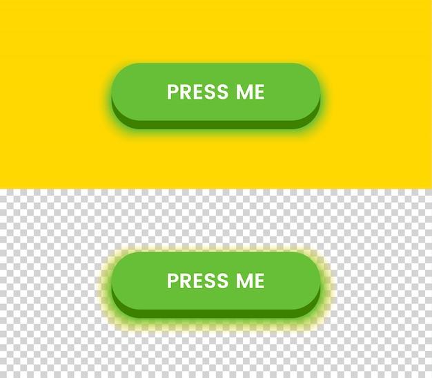 Botão verde simples. amarelo e transparrent