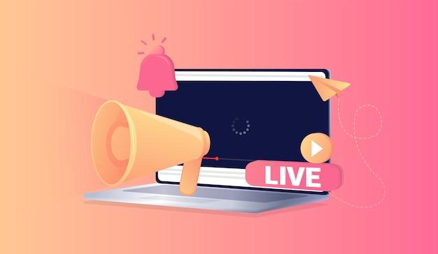 Botão vermelho ao vivo ao vivo para exibição de blog de vídeo notificação fundo de mídia social marketing