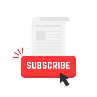 Botão vermelho de assinatura de boletim informativo. conceito de feed de dados, fluxo, jornal, marca de anúncio, suporte, sub, navegação, tablóide. estilo plano tendência logotipo moderno arte design ilustração vetorial no fundo branco