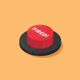 Botão vermelho disparado isolado em laranja