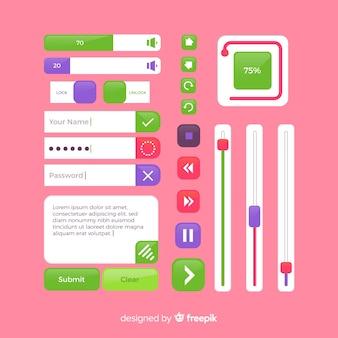 Botão web definido em design plano