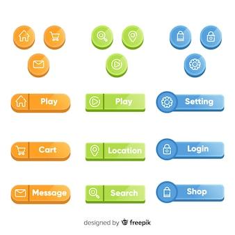 Botão web definido em estilo simples