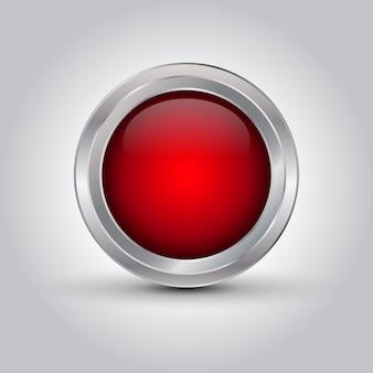 Botão web vermelho brilhante ou fundo com sombra