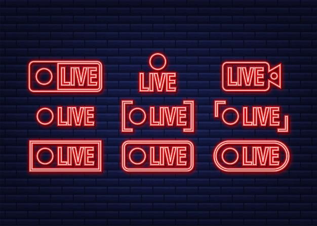 Botão webinar ao vivo, ícone de néon. ilustração vetorial