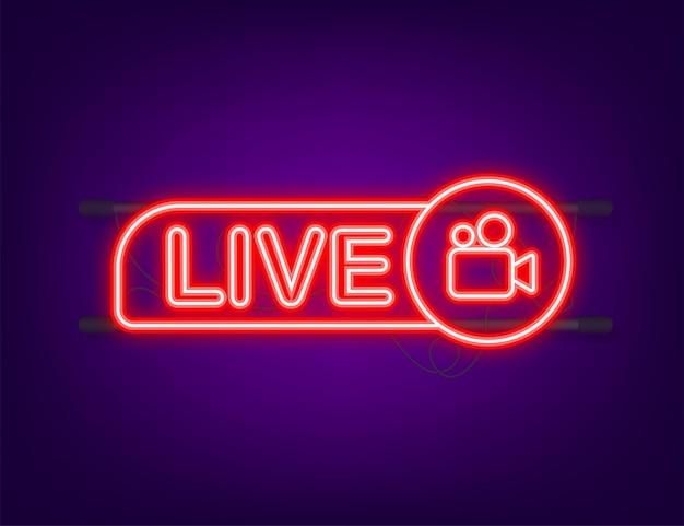 Botão webinar ao vivo, ícone de néon. ilustração vetorial.