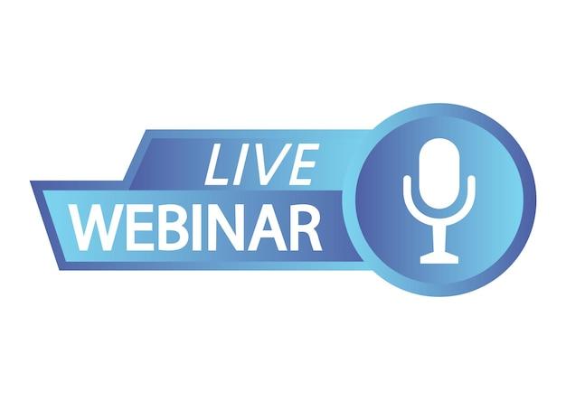 Botão webinar ao vivo seminário on-line ao vivo com ícones de transmissão de microfone