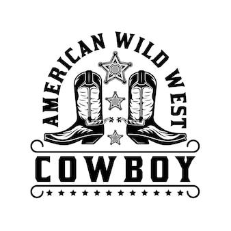 Botas de caubói americano do oeste selvagem