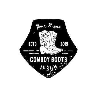 Botas de cowboy com logotipo ocidental mão desenhe o estilo grunge. o símbolo do oeste selvagem canta de botas de cowboy e tipografia retro. emblema vintage para botas de cowboy feitas à mão, pôster, camiseta, capa, banner