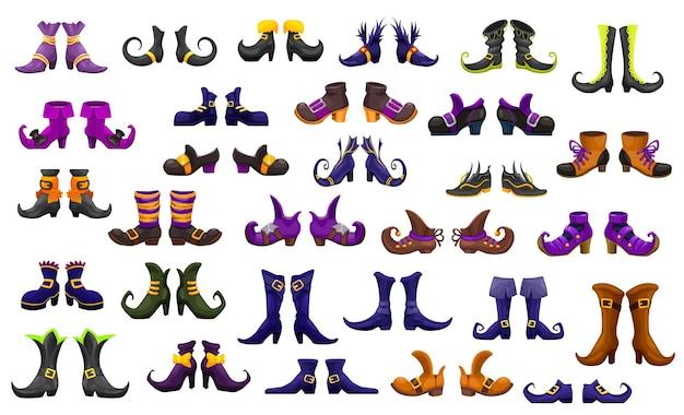 Botas de desenho animado, sapatos de fada, bruxa, feiticeiro e feiticeiro ou feiticeira e feiticeira, ícones do vetor. halloween fada bruxa ou gato do inferno, duende anão ou duende mágica botas ou sapatos com fivelas e fitas Vetor Premium