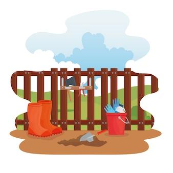 Botas de jardinagem, ferramentas, design de balde e pá, plantio de jardim e natureza