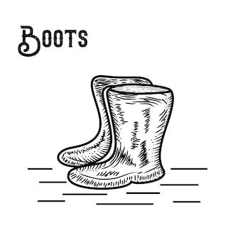 Botas de mão desenhada