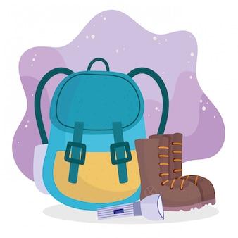 Botas de mochila de acampamento e cartoon de equipamento de lanterna