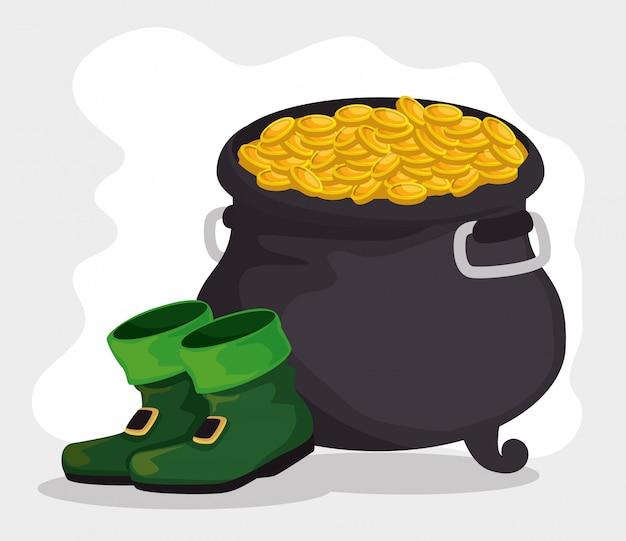 Botas do dia de são patrício com caldeirão e moedas de ouro