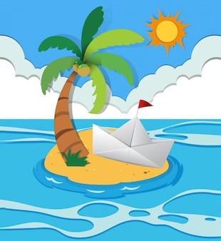 Bote de papel na ilha