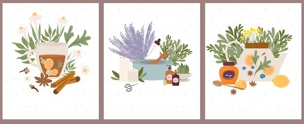 Boticário de conjunto de bem-estar natural, orgânico, aromaterapia, óleos essenciais, incenso, chá de ervas, velas, flores silvestres e ervas.