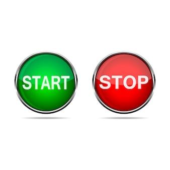 Botões 3d iniciar e parar. ilustração.