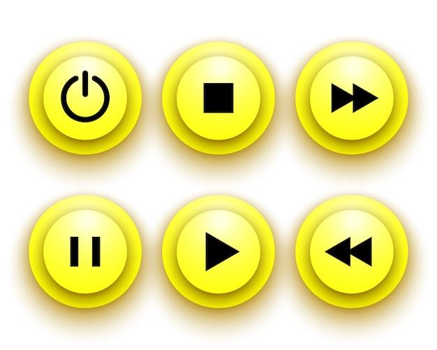Botões amarelos para o jogador: parar, reproduzir, pausar, retroceder, avançar rapidamente, poder. ilustração.