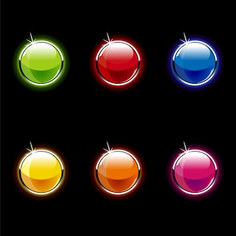 Botões arredondados coloridos brilhantes