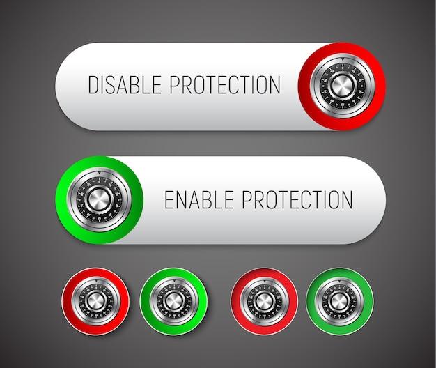 Botões arredondados para ativar e desativar a proteção