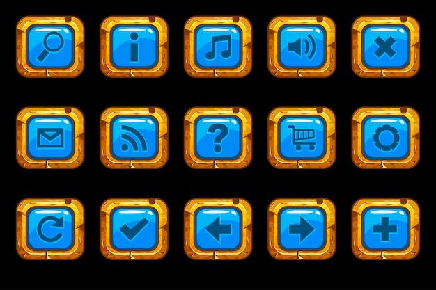 Botões azuis velhos de ouro dos desenhos animados