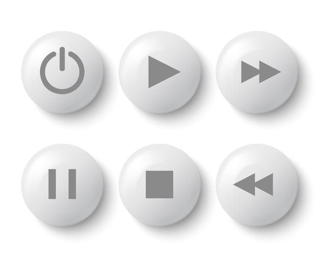 Botões brancos para o jogador: parar, reproduzir, pausar, retroceder, avançar rapidamente, poder. ilustração.