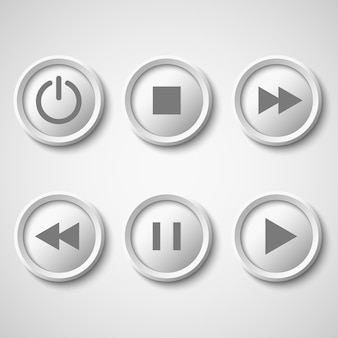 Botões brancos para o jogador: parar, reproduzir, pausar, retroceder, avançar rapidamente, poder.