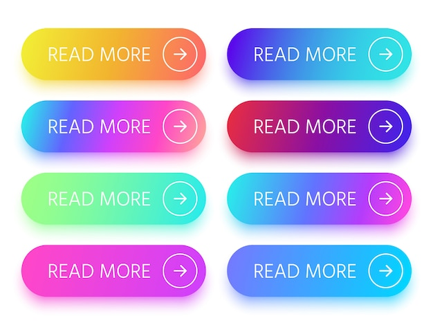Botões brilhantes coloridos do web site com leia mais sinal e ícone da seta.