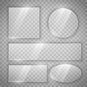 Botões brilhantes de vidro transparente em diferentes formas