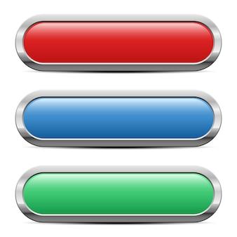 Botões brilhantes definir ilustração em fundo branco
