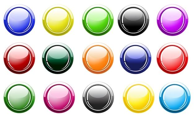 Botões brilhantes isolados no branco