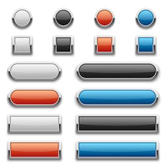 Botões brilhantes preto e brancos com armação de metal brilhante