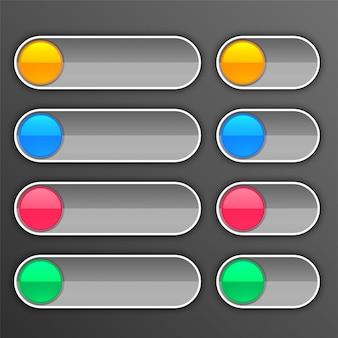 Botões cinza definidos em tamanhos diferentes