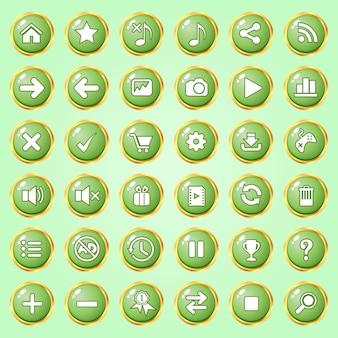 Botões círculo cor verde fronteira ouro ícone definido para jogos.