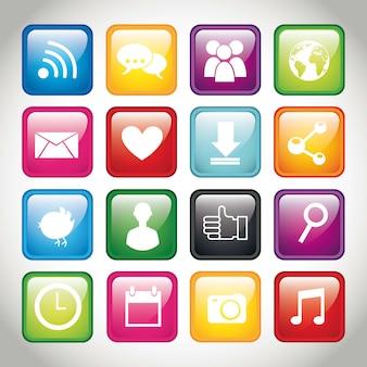 Botões coloridos app sobre ilustração vetorial de fundo cinza
