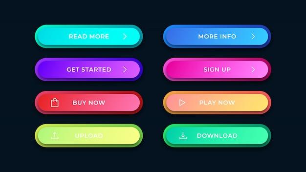 Botões coloridos arredondados da web