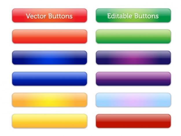 Botões coloridos brilhantes vetoriais editáveis