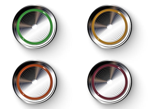 Botões coloridos com bordas metálicas.