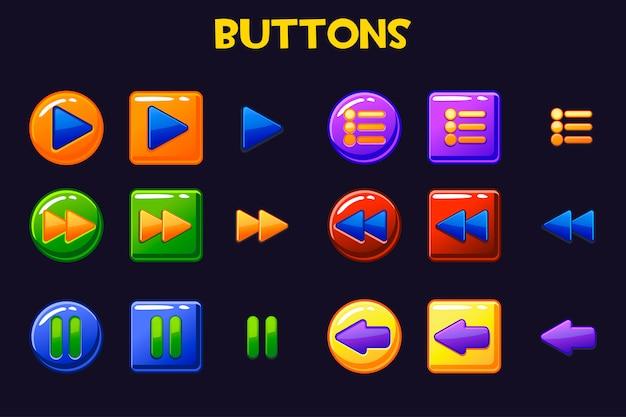 Botões coloridos da interface do usuário do jogo, botão dos desenhos animados