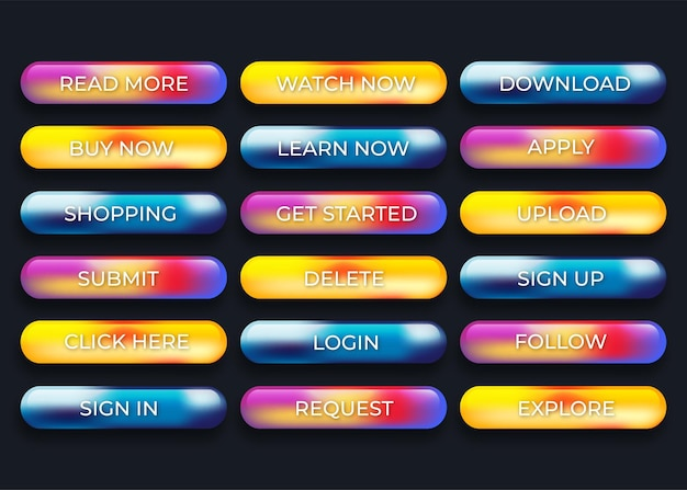 Botões coloridos da web com cores diferentes